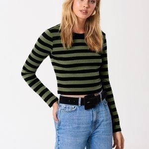 Gina Tricot Blake Rib Top Toppi Green Stripe