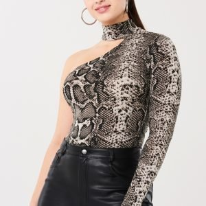 Gina Tricot Bonnie One Shoulder Top Toppi Snakeprint Aop