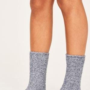 Gina Tricot Chenille Sock Sukat Black / Grey 2-Pakkaus