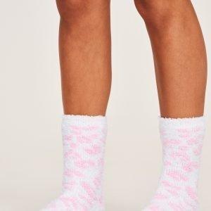 Gina Tricot Chenille Sock Sukat Pink / White 2-Pakkaus