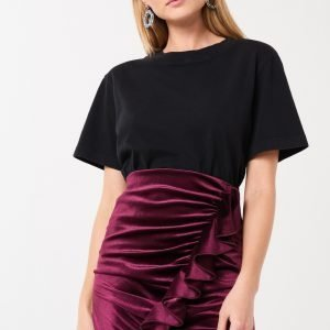 Gina Tricot Cilla Velvet Skirt Hame Wine