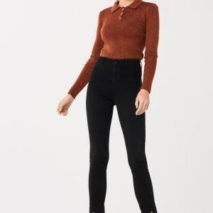 Gina Tricot Donna Slit Jeans Farkut Black