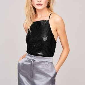 Gina Tricot Dream Sequins Singlet Paljettitoppi Black