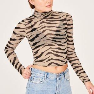 Gina Tricot Ellen Mesh Top Toppi Zebra