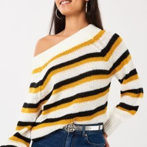 Gina Tricot Elora Knitted Offshoulder Sweater Neulepusero Yellow Stripe