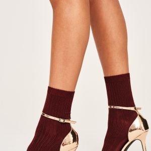 Gina Tricot Erin Rib Socks Sukat Rumba Red