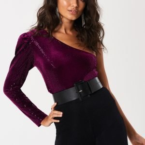 Gina Tricot Estra One Shoulder Top Toppi Purple Saphire