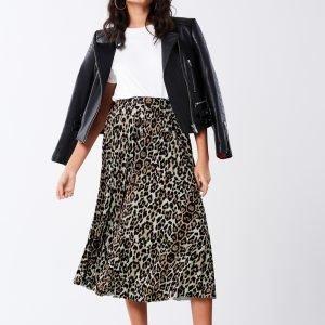 Gina Tricot Eva Pleated Skirt Hame Leopard