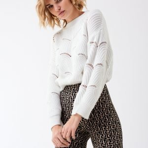 Gina Tricot Fanny Knitted Sweater Neulepusero Offwhite