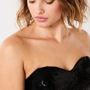 Gina Tricot Fiona Sequins Bustier Paljettitoppi Black
