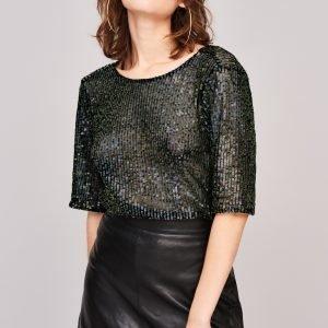 Gina Tricot Flisa Sequins Top Toppi Black Glitter
