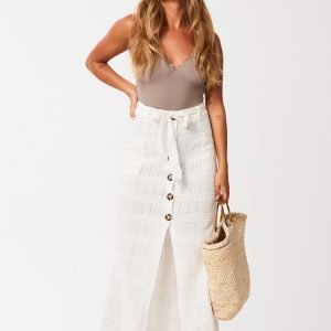 Gina Tricot Florence Button Skirt Hame Offwhite