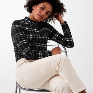 Gina Tricot Gunn Turtleneck Top Poolopusero Black Check