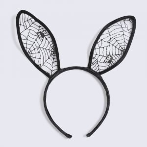 Gina Tricot Halloween Black Bunny Lace Ear Headband Hiuspanta Black