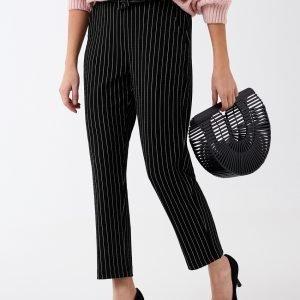 Gina Tricot Hedvig Petite Trousers Housut Black / White Str