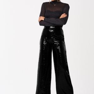 Gina Tricot Jessica Sequins Trousers Housut Black
