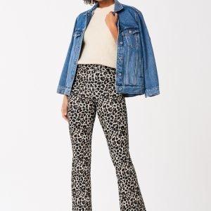 Gina Tricot Jillis Flare Trousers Housut Leopard