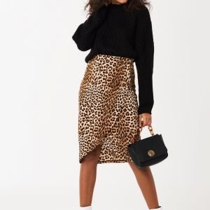 Gina Tricot Karin Draped Skirt Hame Leopard