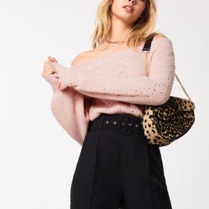 Gina Tricot Kristin Knitted Off Shoulder Neulepusero Pink Haze