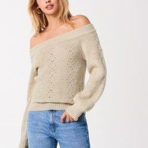 Gina Tricot Kristin Knitted Off Shoulder Neulepusero Warm / Beige