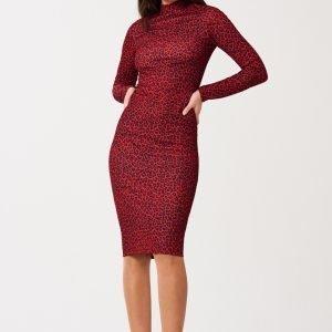 Gina Tricot Lea Turtleneck Dress Mekko Red Leopard