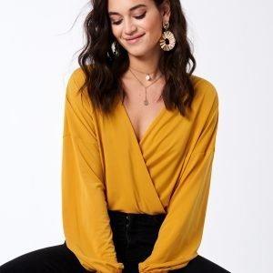 Gina Tricot Leona Wrap Top Toppi Mineral Yellow