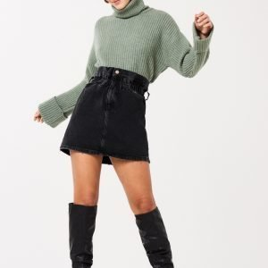 Gina Tricot Li Paperbag Denim Skirt Hame Black / Grey
