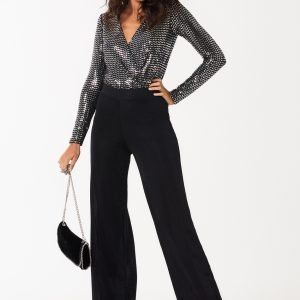 Gina Tricot Lilja Glitter Trousers Housut Black Glitter