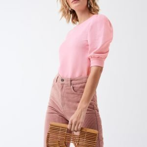 Gina Tricot Linda Puff Sleeve Sweater Collegepusero Pink