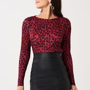 Gina Tricot Lindy Pleated Toppi Red Leopard