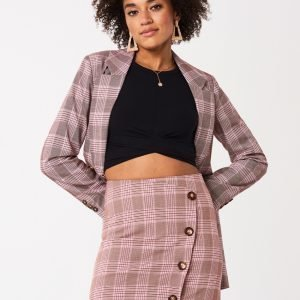 Gina Tricot Lizzy Checked Skirt Hame Pink Check