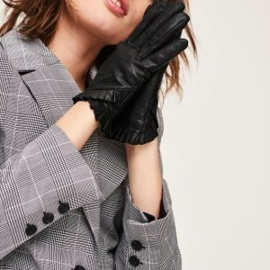 Gina Tricot Lova Leather Glove Nahkakäsineet Black