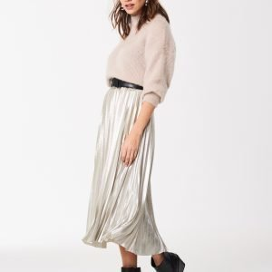 Gina Tricot Lucy Pleated Skirt Hame Silver Metallic