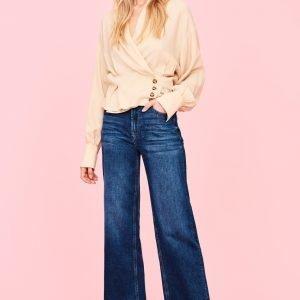 Gina Tricot Merve Wide Cropped Jeans Farkut Dk Blue