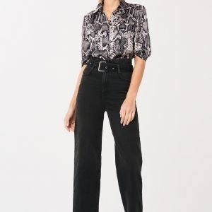 Gina Tricot Mia Belted Paperbag Jeans Farkut Offblack