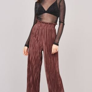 Gina Tricot Millie Frill Trousers Housut Marron