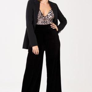 Gina Tricot Milly Velvet Trousers Housut Black