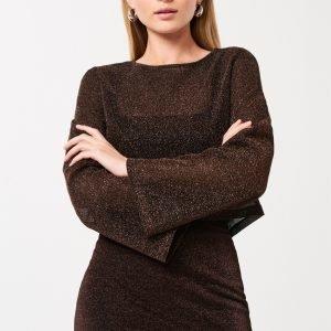 Gina Tricot Mini Glitter Skirt Hame Brown / Glitter