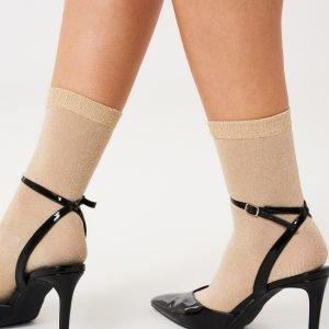 Gina Tricot Nora Glitter Socks Sukat Beige / Gold