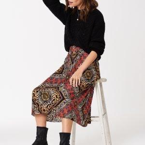 Gina Tricot Sanja Pleated Skirt Hame Chain / Aop