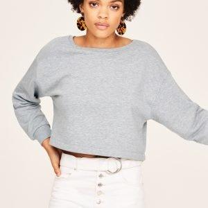 Gina Tricot Willa Cropped Sweater Collegepusero Greymelange