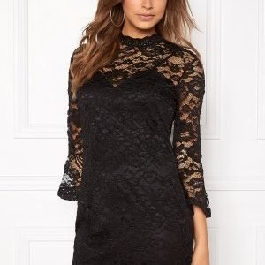 Girl In Mind Long Sleeve Lace Dress Black