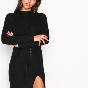 Glamorous Corset Lace Dress Pitkähihainen Mekko Black