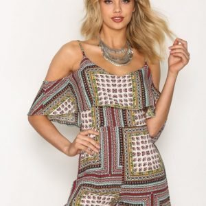 Glamorous Crinkle Off Shoulder Playsuit Multistripe