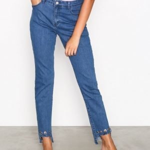 Glamorous Detail Hem Jeans Loose Fit Farkut Mid Blue