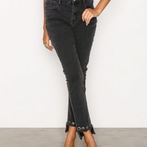 Glamorous Detail Hem Jeans Straight Farkut Washed Black