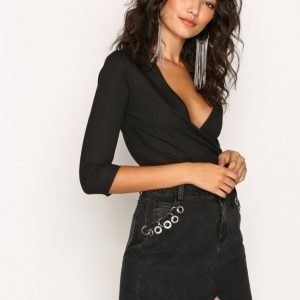 Glamorous Detailed Jeans Skirt Minihame Black
