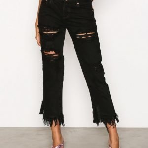 Glamorous Distressed Jeans Loose Fit Farkut Black
