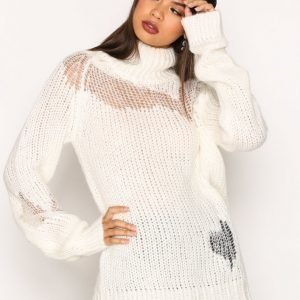 Glamorous Distressed Knit Neulepusero White