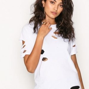 Glamorous Distressed T-Shirt T-Paita White